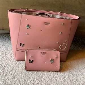 Light pink Guess tote bag and cell phone wallet
